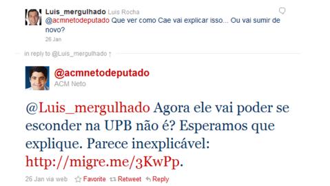 Neto aponta indício de falcatrua em Camaçari conforme Jornal Atarde, via Twitter
